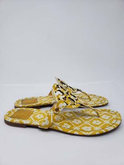 Tory Burch Miller Reva Logo Gold Hardware Patent Leather Yellow Sandals Image 4
