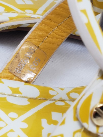 Tory Burch Miller Reva Logo Gold Hardware Patent Leather Yellow Sandals Image 5