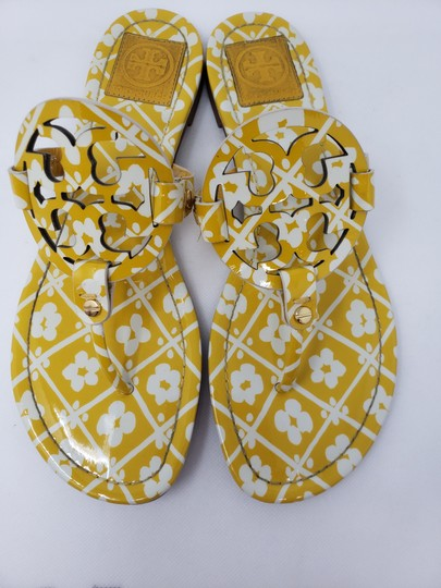 Tory Burch Miller Reva Logo Gold Hardware Patent Leather Yellow Sandals Image 7