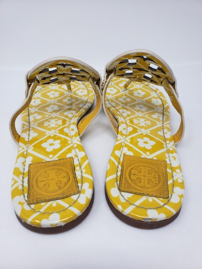 Tory Burch Miller Reva Logo Gold Hardware Patent Leather Yellow Sandals Image 8