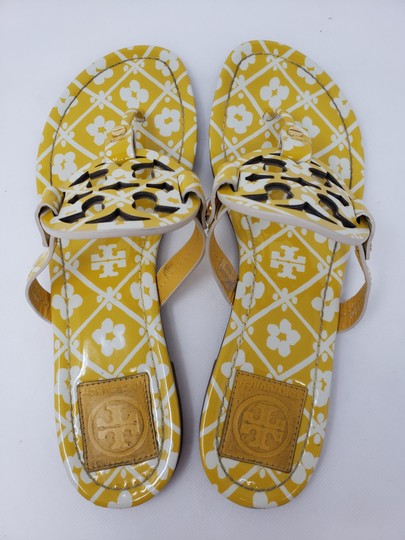 Tory Burch Miller Reva Logo Gold Hardware Patent Leather Yellow Sandals Image 9