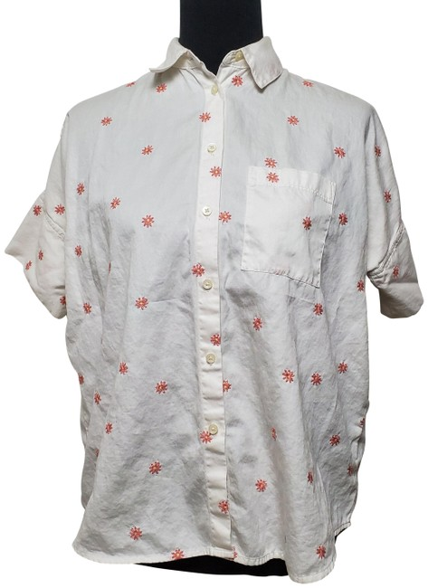 Item - White Short Sleeves Button Up Embroidered Floral Patterns Button-down Top Size 2 (XS)