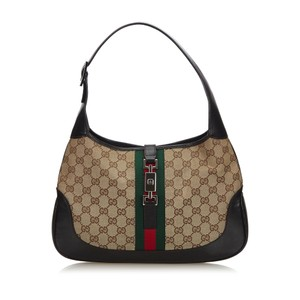 Gucci 9ggush068 Vintage Canvas Leather Shoulder Bag