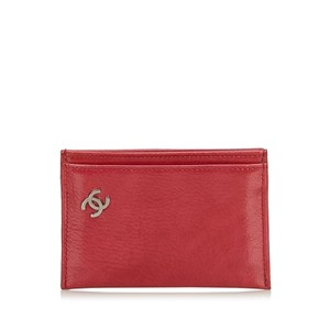 Chanel Chanel Red Leather Cardholder France w Box SMALL