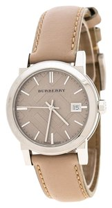 Burberry Beige Check Dial Stainless Steel BU9107 Women's Wristwatch 34 mm