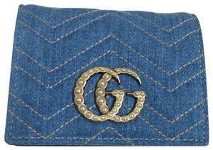 Gucci Limited Edition Blue Quilted Denim Pearl GG Marmont Small Flap Wallet