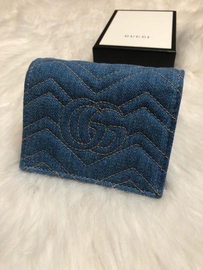 Gucci Limited Edition Blue Quilted Denim Pearl GG Marmont Small Flap Wallet Image 1