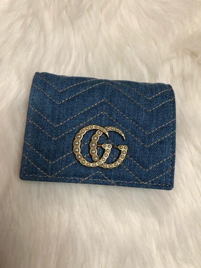 Gucci Limited Edition Blue Quilted Denim Pearl GG Marmont Small Flap Wallet Image 3
