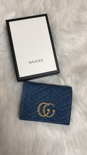 Gucci Limited Edition Blue Quilted Denim Pearl GG Marmont Small Flap Wallet Image 4