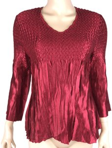 cato 3/4 Sleeve Weave Top Red