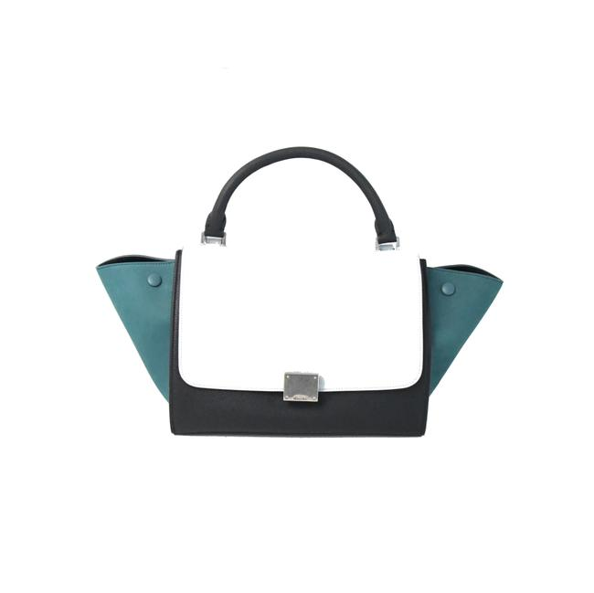 Item - Trapeze Small Leather Turquoise White Shoulder Bag