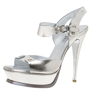 Saint Laurent Paris Silver Leather Ankle Strap Metallic Sandals