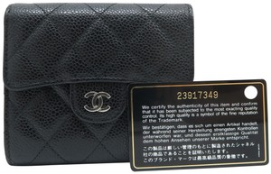 Chanel Chanel Black Quilted Cc Caviar Wallet