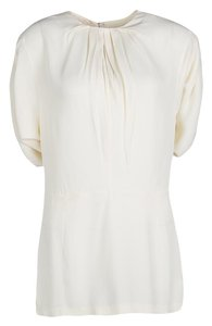 Marni Pleat Detail Draped Cut-out Sleeve Top Cream
