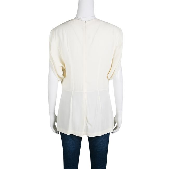 Marni Pleat Detail Draped Cut-out Sleeve Top Cream Image 1