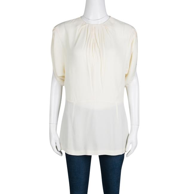 Marni Pleat Detail Draped Cut-out Sleeve Top Cream Image 2
