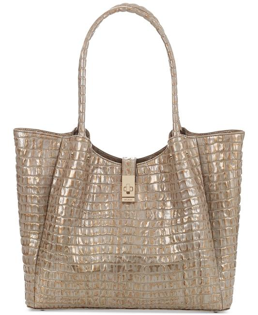 Item - Medium Mallory Embossed Scala Gold Leather Tote