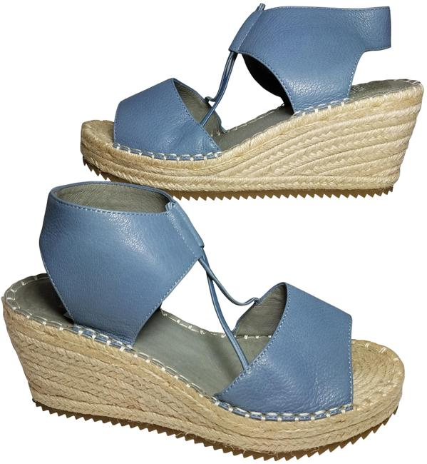 Item - Blue Leather Whim Espadrille Strappy Wedge Sandals Size US 6.5 Regular (M, B)