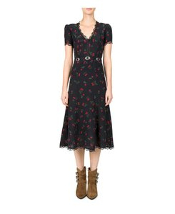 Black and Red Maxi Dress by The Kooples Belted Silver Hardware Print Lace Trim