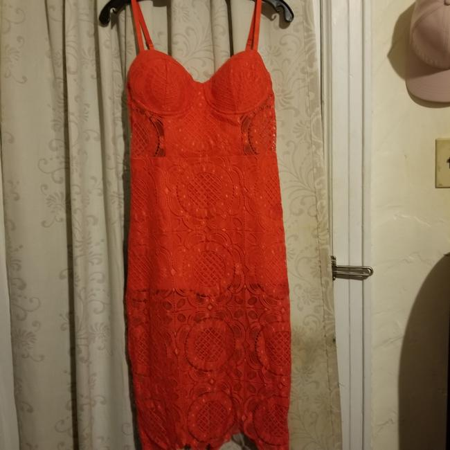 bebe Red Lace Mid-length Cocktail Dress Size 8 (M) bebe Red Lace Mid-length Cocktail Dress Size 8 (M) Image 1