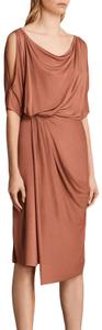 AllSaints Cold Shoulder Draped Cowl Dress