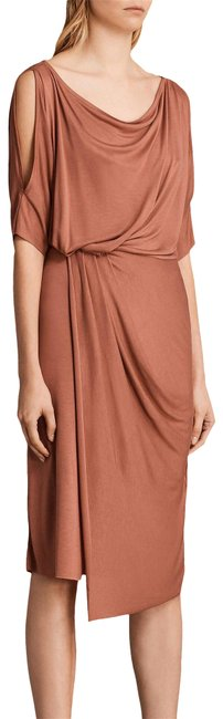 Item - Rust Sina Cold Shoulder Drape Mid-length Night Out Dress Size 4 (S)
