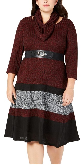 Item - Multicolor Belted Colorblock Sweater Mid-length Work/Office Dress Size 22 (Plus 2x)