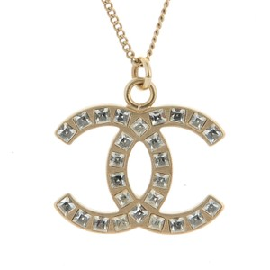 Chanel CHANEL Baguette Crystal CC Necklace Gold