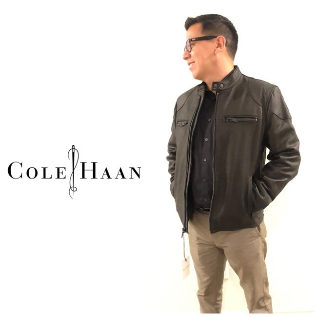 Cole Haan Black Matte New Men's Leather Moto Jacket Size 4 (S) Cole Haan Black Matte New Men's Leather Moto Jacket Size 4 (S) Image 1