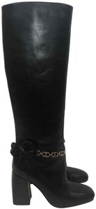 Tory Burch Leather Tall Flower Black Boots