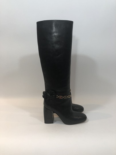 Tory Burch Leather Tall Flower Black Boots Image 1