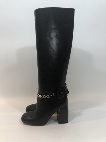 Tory Burch Leather Tall Flower Black Boots Image 10