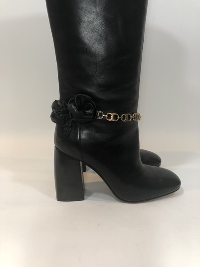 Tory Burch Leather Tall Flower Black Boots Image 2