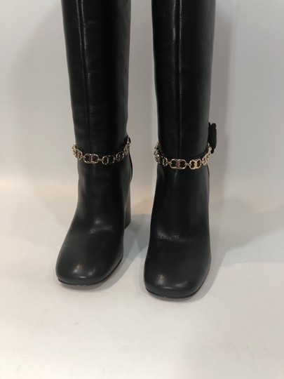 Tory Burch Leather Tall Flower Black Boots Image 4