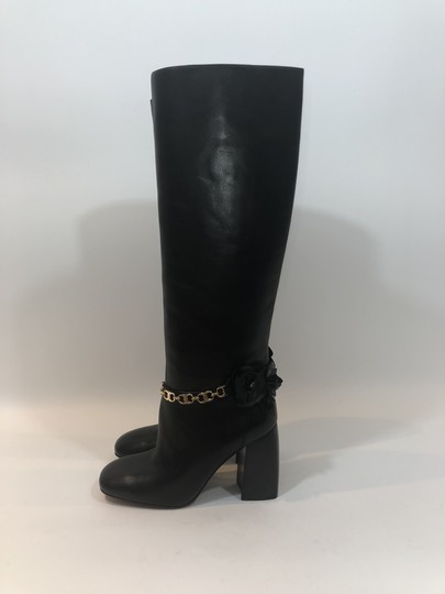 Tory Burch Leather Tall Flower Black Boots Image 5