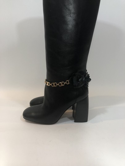 Tory Burch Leather Tall Flower Black Boots Image 6