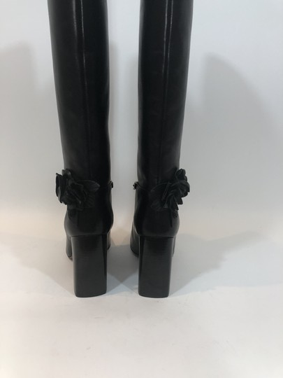 Tory Burch Leather Tall Flower Black Boots Image 8