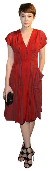 Item - Red Brick 40 Pleated Corset Contrast Mid-length Cocktail Dress Size 4 (S)