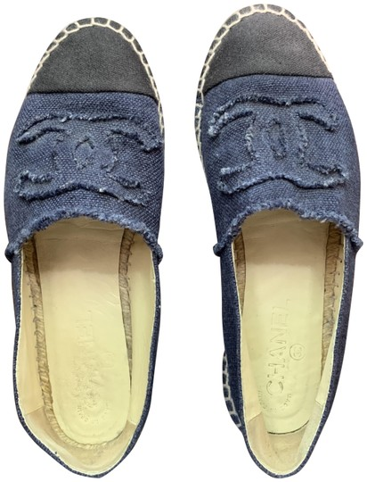 Chanel Navy, Black Flats Image 0