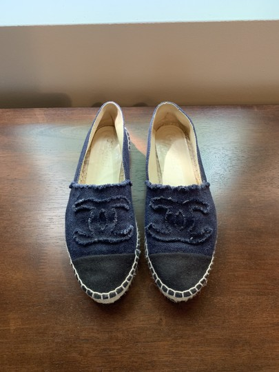 Chanel Navy, Black Flats Image 4