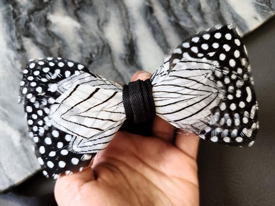 Preload https://img-static.tradesy.com/item/25838559/white-black-new-dot-pattern-natural-feather-evening-rare-tiebowtie-0-1-540-540.jpg