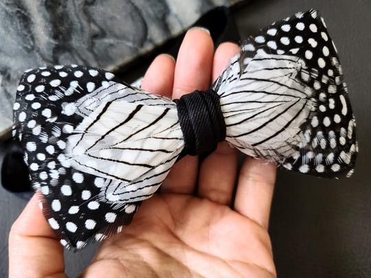 White Black New Dot Pattern Natural Feather Evening Rare Tie/Bowtie Image 1