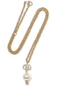 Gucci Gold-plated, crystal and faux pearl necklace