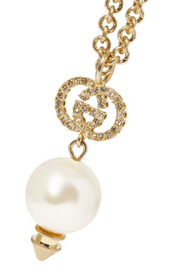 Gucci Gold-plated, crystal and faux pearl necklace Image 2