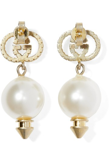 Gucci Gold-tone, faux pearl and crystal earrings Image 1