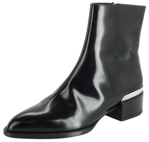 Vince Shiny Leather Zip Metal Black Boots