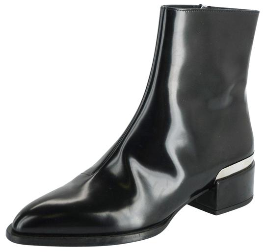 Vince Shiny Leather Zip Metal Black Boots Image 0