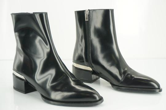 Vince Shiny Leather Zip Metal Black Boots Image 10