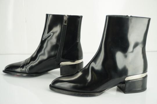 Vince Shiny Leather Zip Metal Black Boots Image 11