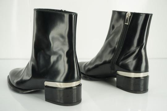Vince Shiny Leather Zip Metal Black Boots Image 3